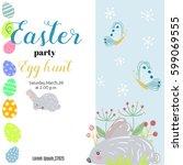 easter background or banner.... | Shutterstock .eps vector #599069555