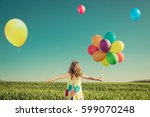 happy child playing with... | Shutterstock . vector #599070248