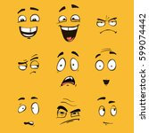 cartoon faces with different... | Shutterstock .eps vector #599074442