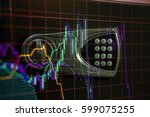 financial data on a monitor as... | Shutterstock . vector #599075255