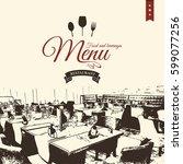 restaurant menu design. vector... | Shutterstock .eps vector #599077256