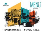 restaurant menu design. vector... | Shutterstock .eps vector #599077268