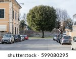 cars parked in the street with... | Shutterstock . vector #599080295