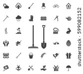 garden fork icon. set of spring ... | Shutterstock .eps vector #599082152