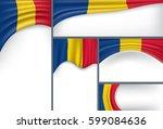 abstract romania flag  romanian ... | Shutterstock .eps vector #599084636