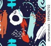 brush stroke seamless pattern.... | Shutterstock .eps vector #599096732