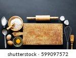 baking ingredients. bowl  eggs  ... | Shutterstock . vector #599097572