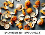orange peel mandarin background.... | Shutterstock . vector #599099615