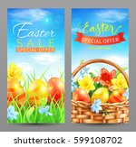 easter sale vertical banners.... | Shutterstock .eps vector #599108702
