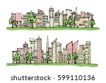 cartoon hand drawing city  with ... | Shutterstock .eps vector #599110136
