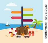 summer holidays background on... | Shutterstock .eps vector #599112932