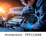 repairing engine at service... | Shutterstock . vector #599113688