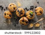 healthy vegan banana blueberry... | Shutterstock . vector #599122802