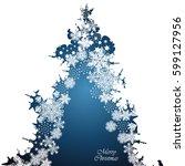 christmas border  snowflake... | Shutterstock .eps vector #599127956