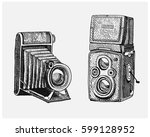 photo camera set vintage ... | Shutterstock .eps vector #599128952