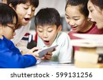 group of asian elementary... | Shutterstock . vector #599131256