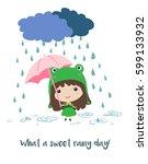 cute little girl in frog...   Shutterstock .eps vector #599133932