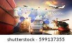 logistics and transportation of ... | Shutterstock . vector #599137355