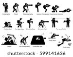 Outdoor photographer photography gears. An adventurous photographer taking pictures with different postures at outdoor. Including star photography, camouflage tent, wildlife, and underwater pictures. | Shutterstock vector #599141636