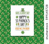 st. patrick's day flat line... | Shutterstock .eps vector #599145728