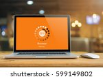 laptop on table with browser... | Shutterstock . vector #599149802