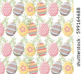 background with easter eggs.... | Shutterstock .eps vector #599164688