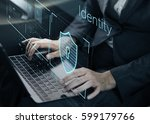 data security system shield... | Shutterstock . vector #599179766