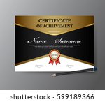 certificate template a4 size... | Shutterstock .eps vector #599189366