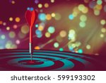 target hit in the center by... | Shutterstock . vector #599193302