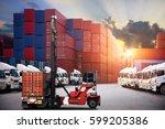 industrial container cargo... | Shutterstock . vector #599205386