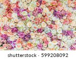 flowers wall background with... | Shutterstock . vector #599208092