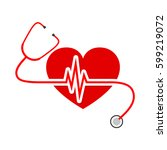 red heart with stethoscope and... | Shutterstock .eps vector #599219072