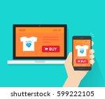 responsive internet shop design ...   Shutterstock .eps vector #599222105