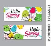 hello spring sale banner... | Shutterstock .eps vector #599222135