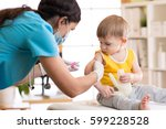 female doctor makes a... | Shutterstock . vector #599228528