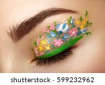 eye makeup girl with a flowers. ... | Shutterstock . vector #599232962