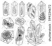 set of hand drawn line art... | Shutterstock .eps vector #599234672