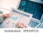 business women reviewing data...   Shutterstock . vector #599239712
