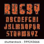 sanserif font with contour.... | Shutterstock .eps vector #599243666