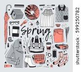 hand drawn fashion illustration.... | Shutterstock .eps vector #599250782