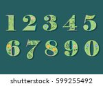 Set Of Floral Numerals. Green...