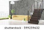 modern bright interior . 3d... | Shutterstock . vector #599259632