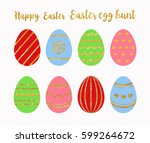 easter eggs with gold glitter... | Shutterstock .eps vector #599264672