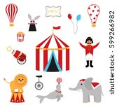 cute set of circus elements.... | Shutterstock .eps vector #599266982