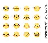 set of cute lovely kawaii... | Shutterstock .eps vector #599269976