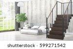 modern bright interior . 3d... | Shutterstock . vector #599271542