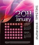 2011 calendar january   Shutterstock .eps vector #59927341