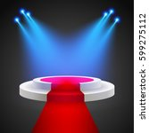 red carpet with round podium.... | Shutterstock .eps vector #599275112