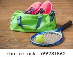 racket and ball for tennis in... | Shutterstock . vector #599281862