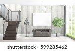 modern bright interior with... | Shutterstock . vector #599285462